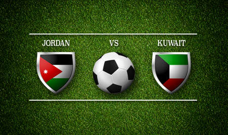 Football Match schedule, Jordan vs Kuwait, flags of countries and soccer ball - 3D rendering