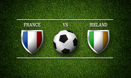 Football Match schedule, France vs Ireland, flags of countries and soccer ball - 3D rendering 版權商用圖片