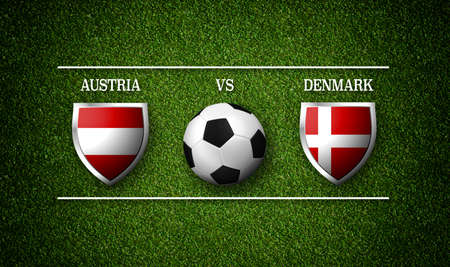 Football Match schedule, Austria vs Denmark, flags of countries and soccer ball - 3D rendering
