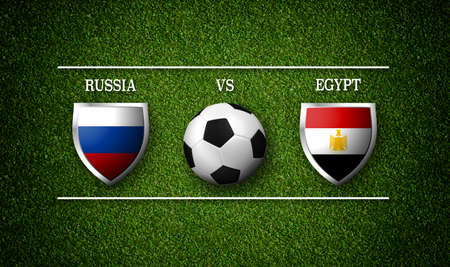 Football Match schedule, Russia vs Egypt, flags of countries and soccer ball