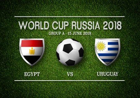 Match schedule, Egypt vs Uruguay, flags of countries participating to the international tournament in Russia, group and date Stock Photo
