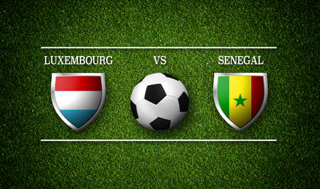 Football Match schedule, Luxembourg vs Senegal, flags of countries and soccer ball - 3D rendering Stock Photo