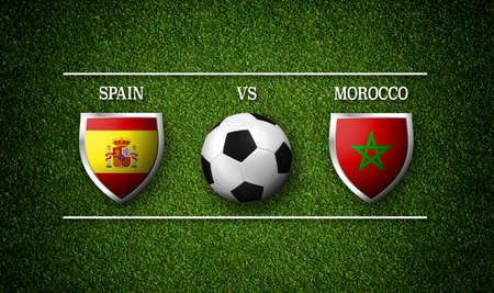 Football Match schedule, Spain vs Morocco, flags of countries and soccer ball - 3D rendering Stock Photo