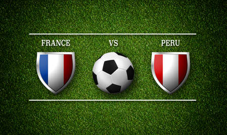 Football Match schedule, France vs Peru, flags of countries and soccer ball - 3D rendering Stock Photo
