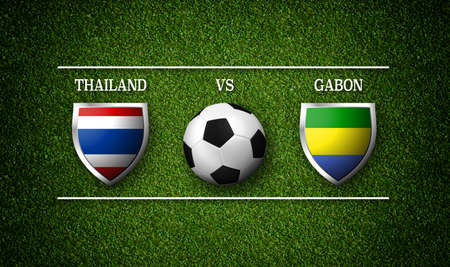 Football Match schedule, Thailand vs Gabon, flags of countries and soccer ball - 3D rendering