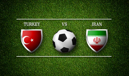 Football Match schedule, Turkey vs Iran, flags of countries and soccer ball - 3D rendering Stock Photo