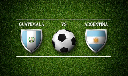 Football Match schedule, Guatemala vs Argentina, flags of countries and soccer ball - 3D rendering Stock Photo