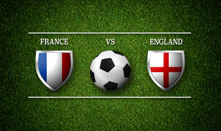 Football Match schedule, France vs England, flags of countries and soccer ball - 3D rendering Reklamní fotografie - 105074408