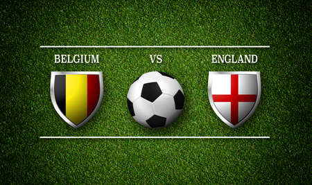 Football Match schedule, Belgium vs England, flags of countries and soccer ball - 3D rendering Stock Photo