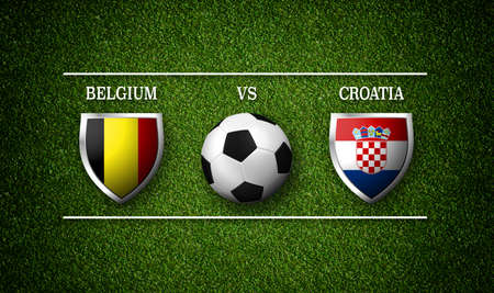 Football Match schedule, Belgium vs Croatia, flags of countries and soccer ball - 3D rendering