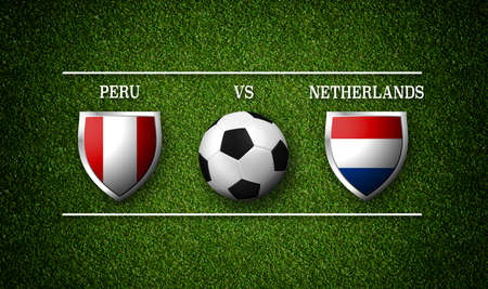 Football Match schedule,Peru vs Netherlands, flags of countries and soccer ball - 3D rendering 版權商用圖片