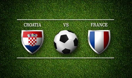 Football Match schedule, Croatia vs France, flags of countries and soccer ball - 3D rendering 版權商用圖片
