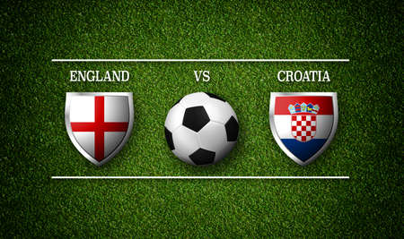 Football Match schedule, England vs Croatia, flags of countries and soccer ball - 3D rendering Stock Photo