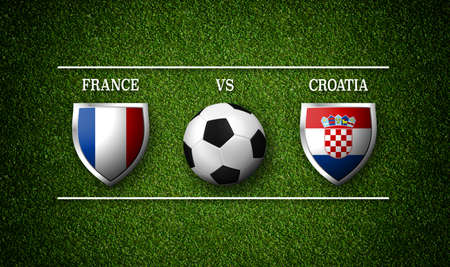 Football Match schedule, France vs Croatia, flags of countries and soccer ball - 3D rendering Stock Photo