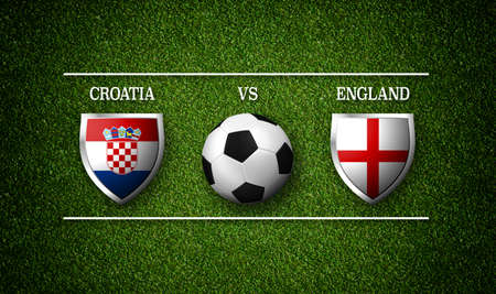 Football Match schedule, Croatia vs England, flags of countries and soccer ball - 3D rendering Stock Photo