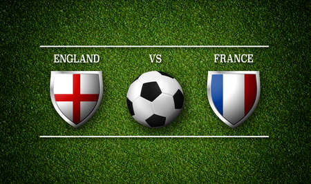Football Match schedule, England vs France, flags of countries and soccer ball - 3D rendering