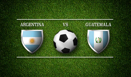 Football Match schedule, Argentina vs Guatemala, flags of countries and soccer ball - 3D rendering