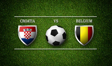 Football Match schedule, Croatia vs Belgium, flags of countries and soccer ball - 3D rendering