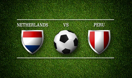 Football Match schedule, Netherlands vs Peru, flags of countries and soccer ball - 3D rendering