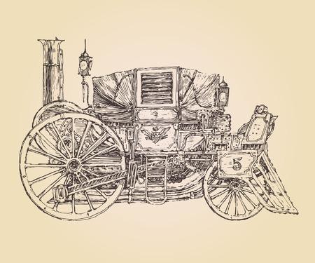 motor de carro: dibujado autopropulsadas steam punk carro coche viejo de la vendimia, ilustración, grabado mano