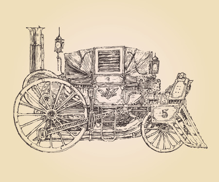 selfpropelled carriage steam punk Old car vintage engraved illustration hand drawn Illustration