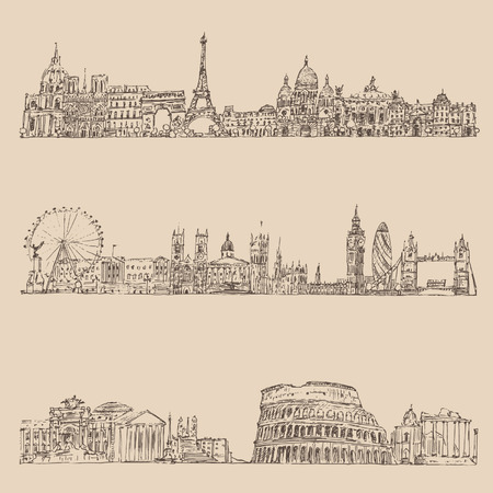 old fashioned sepia: city set London Paris Rome vintage engraved illustration hand drawn Illustration