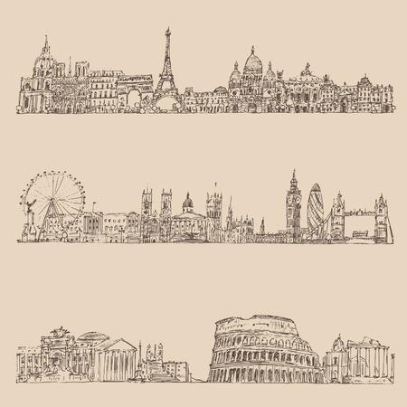 ancestry: city set London Paris Rome vintage engraved illustration hand drawn Illustration