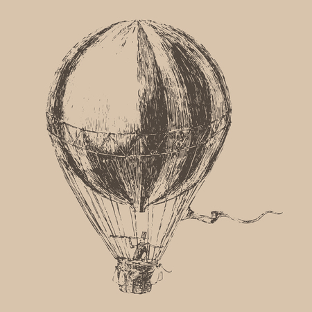 engravings: engravings airship balloon style hand drawn vector