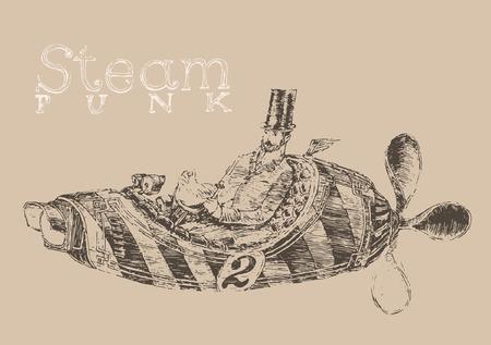 steam punk aircraft airship engraving style hand drawn vector