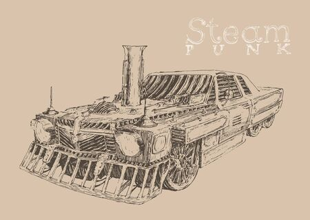 Steam punk car engraving style hand drawn vector Vector Illustration