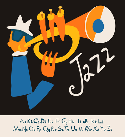 fanfare: JAZZ concert music background flat Illustration with font vector