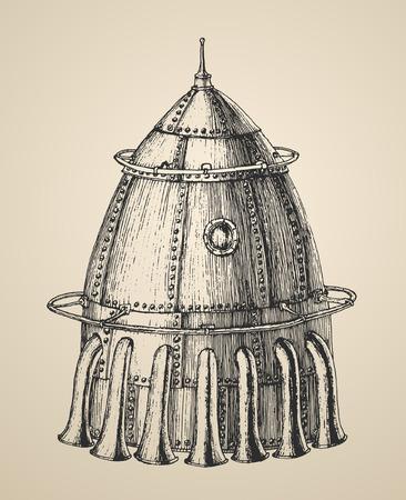 빈티지 레트로 스타일 새겨진 그림 손으로 그린 벡터 스팀 펑크 로켓의 우주선 그림