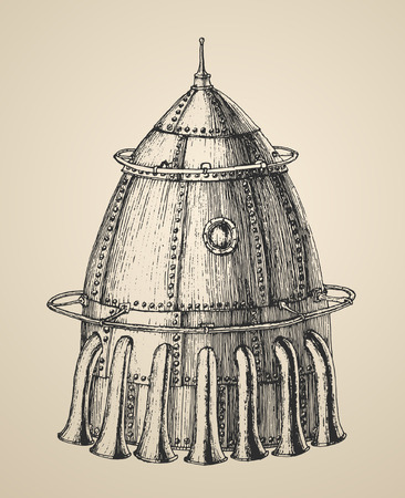 Spaceship illustration of a steam punk rocket ship in a vintage retro style engraved illustration hand drawn vector