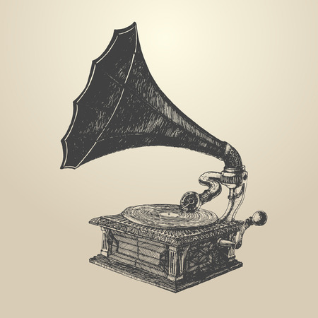 phonograph: Phonograph  vintage engraved illustration retro style hand drawn vector Illustration