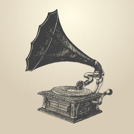 restored: Phonograph  vintage engraved illustration retro style hand drawn vector Illustration