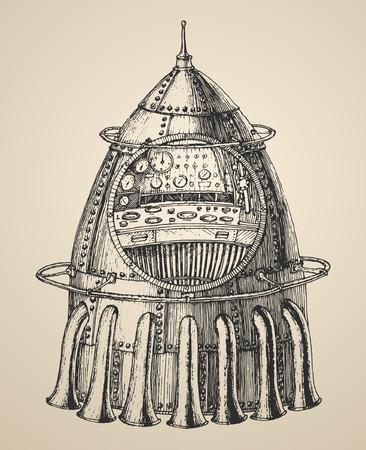 booster: Spaceship illustration of a steam punk rocket ship in a vintage retro style engraved illustration hand drawn vector
