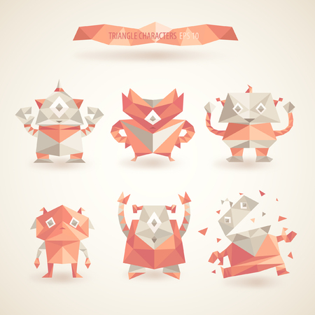 cute robot: cute characters robot set origami by triangles polygon vector illustration vector Illustration