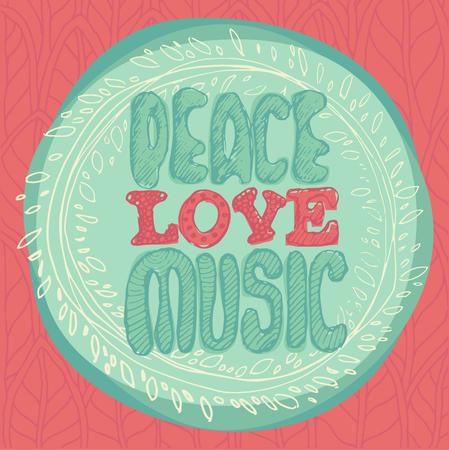 peace and love: Peace Love Music emblem vector illustration flat style Illustration