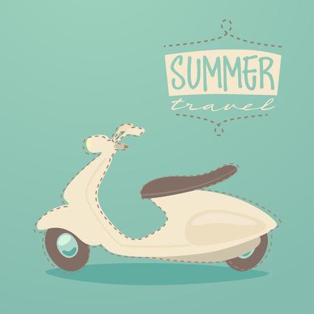 retro scooter summer travel vintage scooter poster vector illustration flat design