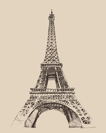 towers: Eiffel Tower Paris France architecture vintage engraved illustration hand drawn  vector Illustration