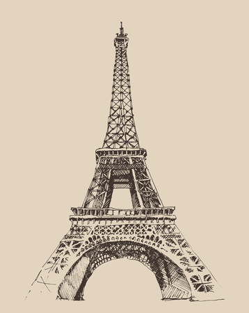 Eiffel Tower Paris France architecture vintage engraved illustration hand drawn  vector Illustration