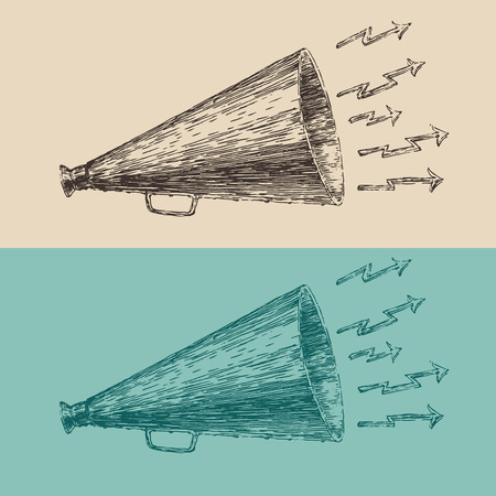 loudspeaker engraving style hand drawn vector megaphone Ilustração