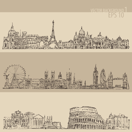 london city: city set London Paris Rome vintage engraved illustration hand drawn Illustration