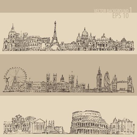 city set London Paris Rome vintage engraved illustration hand drawn Illustration