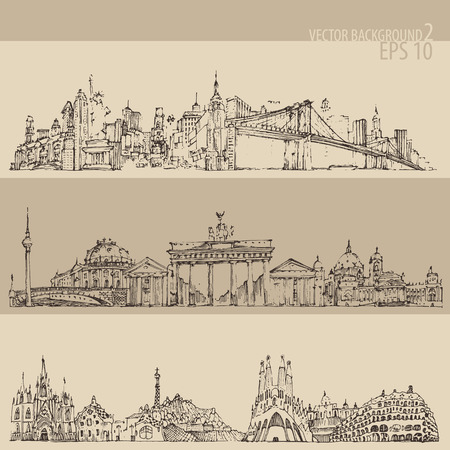 spire: city set New york Berlin Barcelona vintage engraved illustration hand drawn Illustration