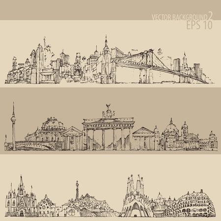 remains: city set New york Berlin Barcelona vintage engraved illustration hand drawn Illustration