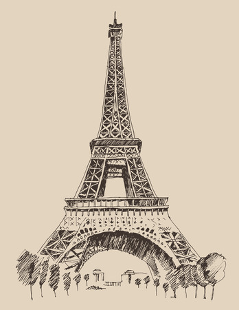 Eiffel Tower Paris France architecture vintage engraved illustration hand drawn  vector 向量圖像