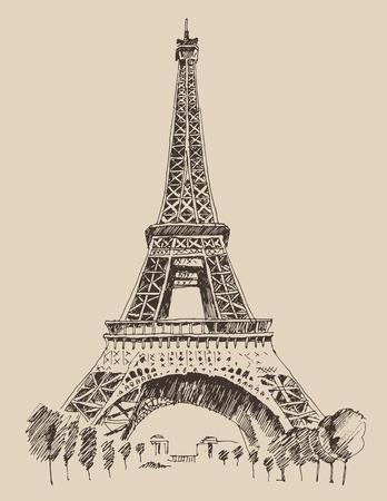 paris vintage: Ilustración grabada Torre Eiffel París Francia arquitectura de época dibujado a mano vector
