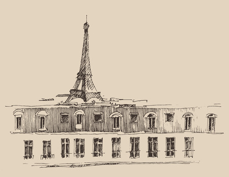 antiquity: Paris France vintage engraved illustration hand drawn vector Illustration