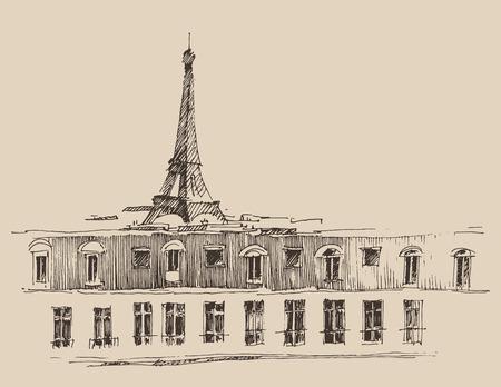 Paris France vintage engraved illustration hand drawn vector Illustration